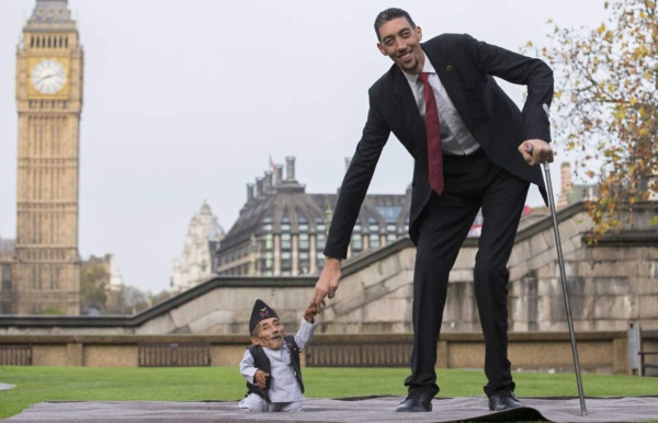 Chandra Bahadur Dangi, from Nepal, (L) the shortest adult to have ever been verified by Guinness World Records, poses for pictures with the world's tallest man Sultan Kosen from Turkey, during a photocall in London on November 13, 2014, to mark Guinness World Records Day. Chandra Dangi, measures a tiny 21.5in (0.54m)  the same height as six stacked cans of beans. Sultan Kosen measures 8 ft 3in (2.51m).  AFP PHOTO / ANDREW COWIEANDREW COWIE/AFP/Getty Images