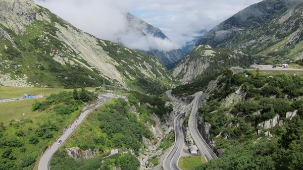 Switchbacks on Grimselpass (Switzerland)