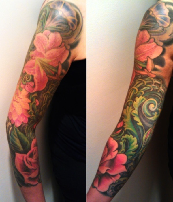 50 cool japanese sleeve tattoos for awesomeness for Tropical themed tattoos