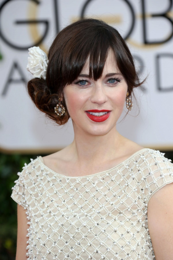 01/12/2014 - Zooey Deschanel - 71st Annual Golden Globe Awards - Arrivals - Beverly Hilton Hotel - Beverly Hills, CA, USA - Keywords: Theatrical Performance, California, Movie, Award, Television Show, Golden Globe Awards, Film Industry, Fashion, Arts Culture and Entertainment, Attending, Celebrities, celebrity 71st Golden Globe Awards Orientation: Portrait Face Count: 1 - False - Photo Credit: Andrew Evans  / PR Photos - Contact (1-866-551-7827) - Portrait Face Count: 1