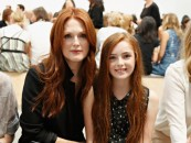 NEW YORK, NY - SEPTEMBER 11:  Actress Julianne Moore and her daughter Liv Helen Freundlich attend the Reed Krakoff fashion show during Mercedes-Benz Fashion Week Spring 2014 on September 11, 2013 in New York City.  (Photo by Cindy Ord/Getty Images)
