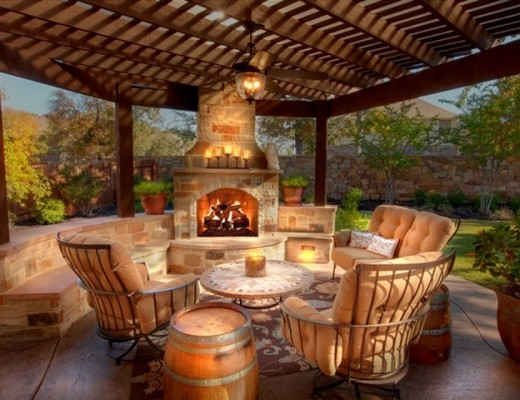 Contemporary-outdoor-living-spaces-with-fireplace-and-pergola