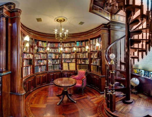 Gold-Chandelier-Feats-Comfortable-Reading-Chair-Also-Spiral-Staircase-And-Luxurious-Library-Architecture-Design