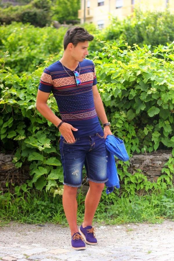 Mens White Jean Shorts