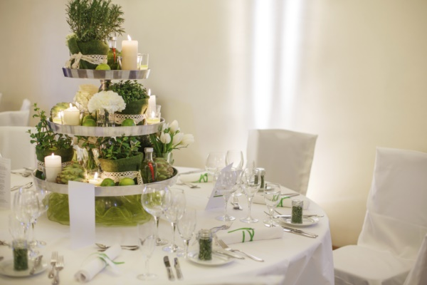 Beautiful table set  for green wedding or event party, indoors,