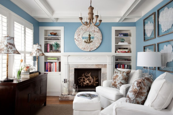 Chic Interior Design Ideas With Fieplace White Sofa