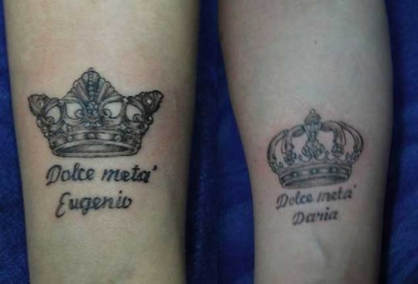 Cute king and queen tattoo for couples0091