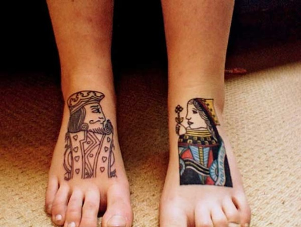 Cute king and queen tattoo for couples0111