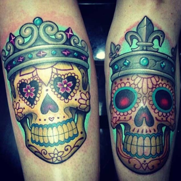 Cute king and queen tattoo for couples0161