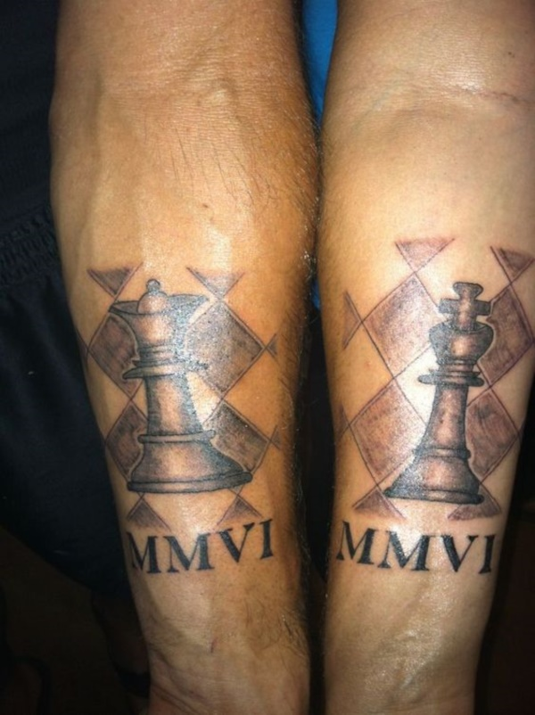 Cute king and queen tattoo for couples0211