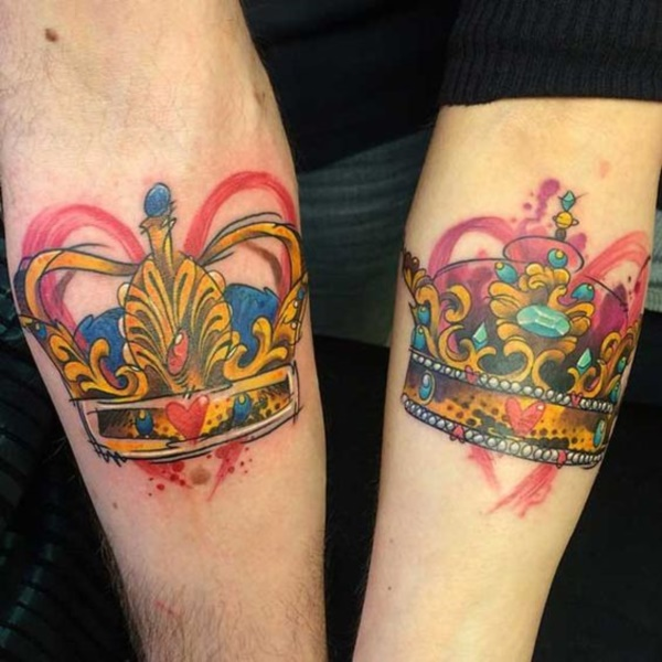 Cute king and queen tattoo for couples0271