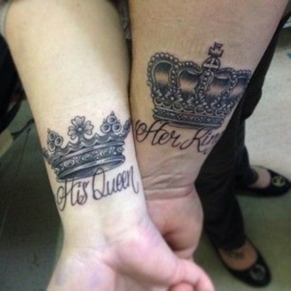 45 cute king and queen tattoo for couples buzz 2018. Black Bedroom Furniture Sets. Home Design Ideas