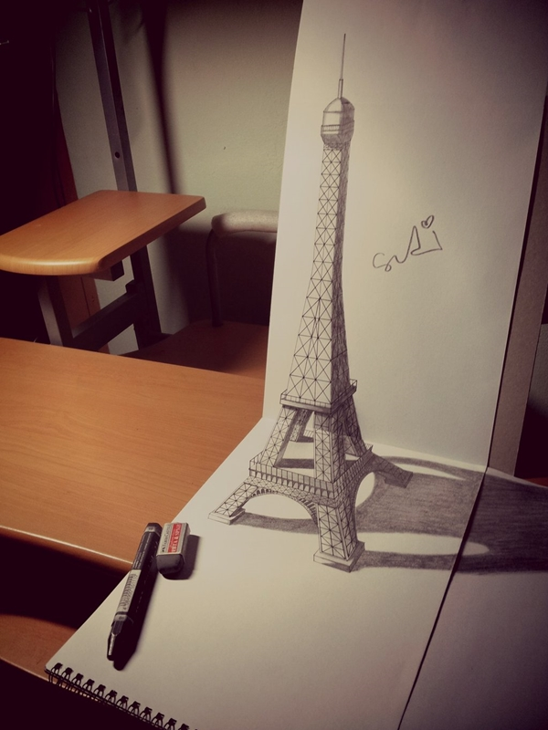 beautiful and detailed Eiffel Tower drawings - (1)