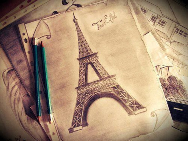 beautiful and detailed Eiffel Tower drawings - (10)