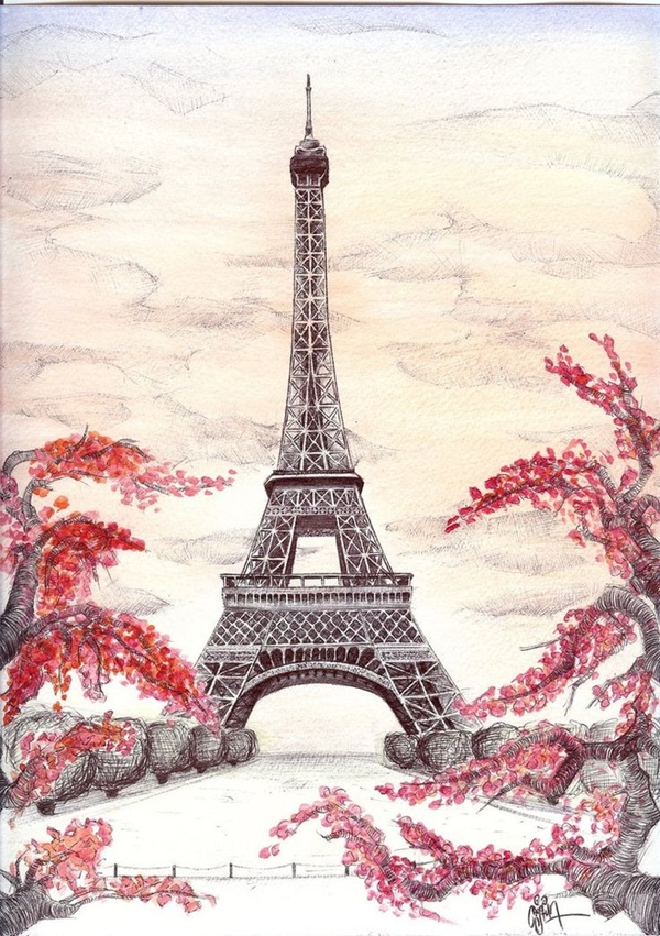 beautiful and detailed Eiffel Tower drawings - (11)
