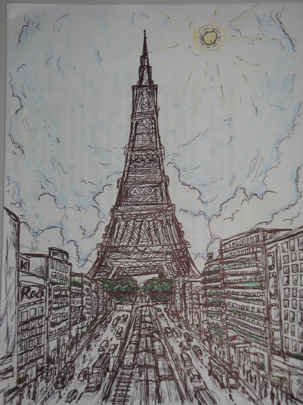 beautiful and detailed Eiffel Tower drawings - (12)