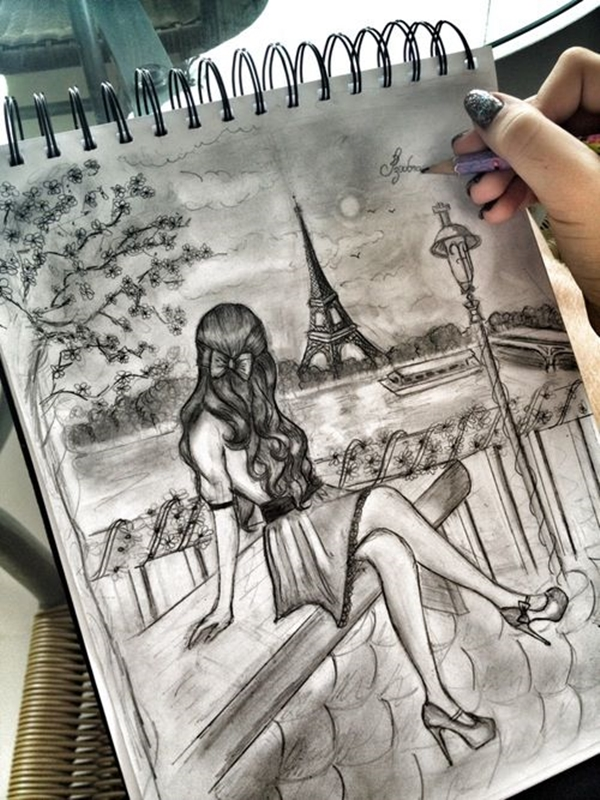 beautiful and detailed Eiffel Tower drawings - (14)