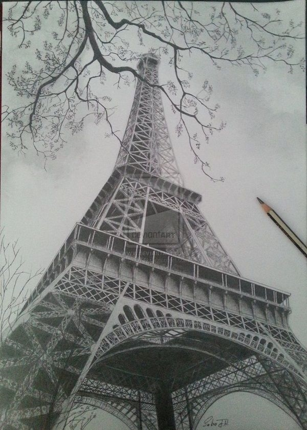 beautiful and detailed Eiffel Tower drawings - (2)