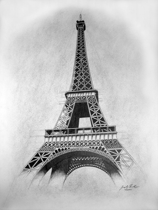 Beautiful and detailed eiffel tower drawings 20