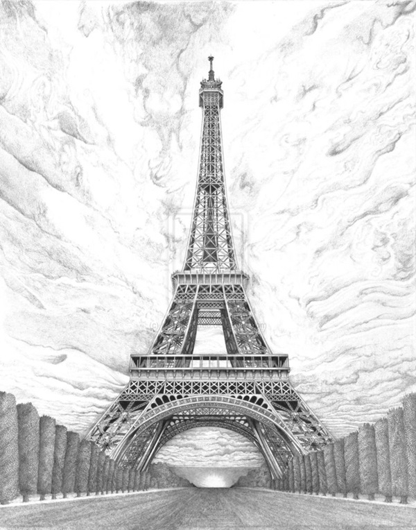beautiful and detailed Eiffel Tower drawings - (22)