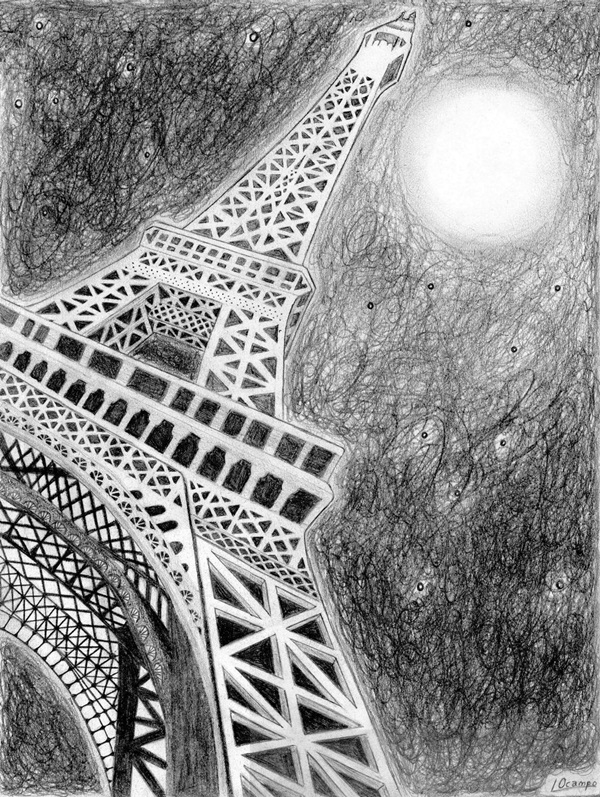 beautiful and detailed Eiffel Tower drawings - (27)