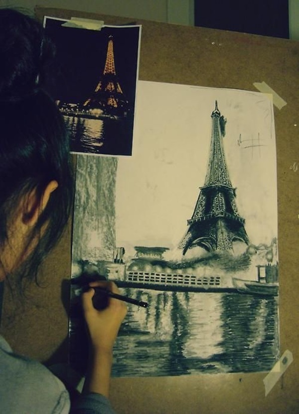 beautiful and detailed Eiffel Tower drawings - (28)