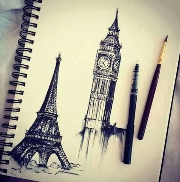 beautiful and detailed Eiffel Tower drawings - (3)