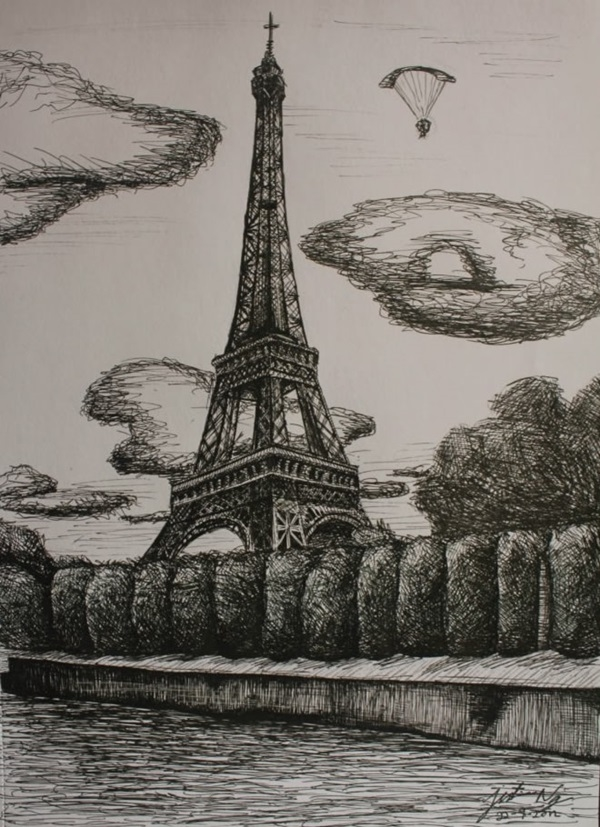 beautiful and detailed Eiffel Tower drawings - (30)
