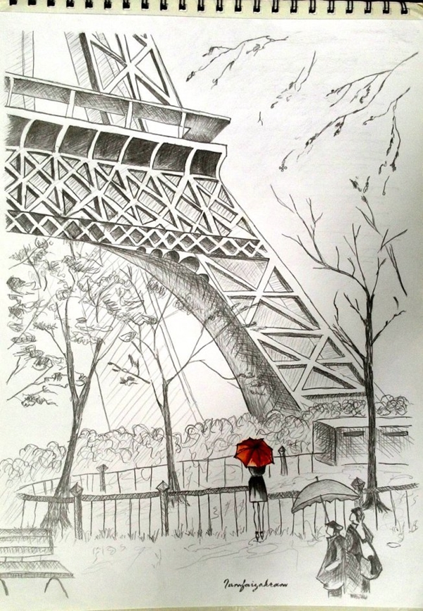 beautiful and detailed Eiffel Tower drawings - (32)