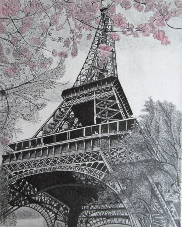 beautiful and detailed Eiffel Tower drawings - (35)