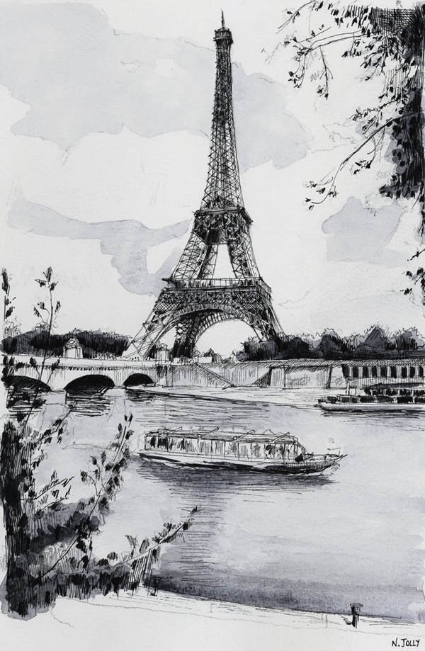 beautiful and detailed Eiffel Tower drawings - (38)