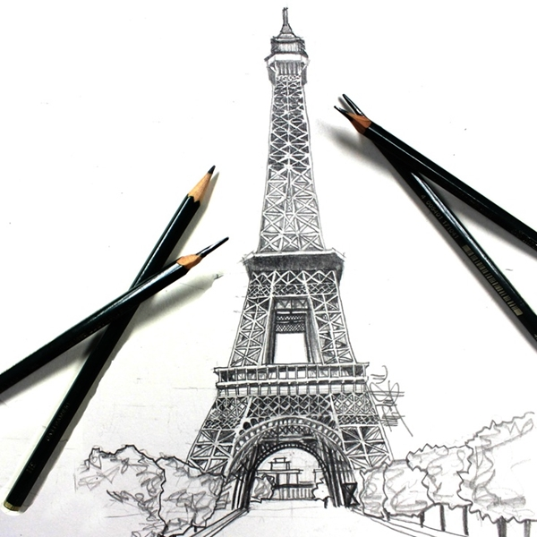beautiful and detailed Eiffel Tower drawings - (4)