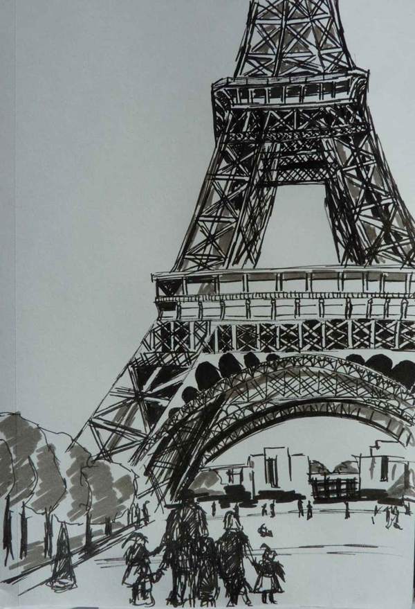 beautiful and detailed Eiffel Tower drawings - (7)