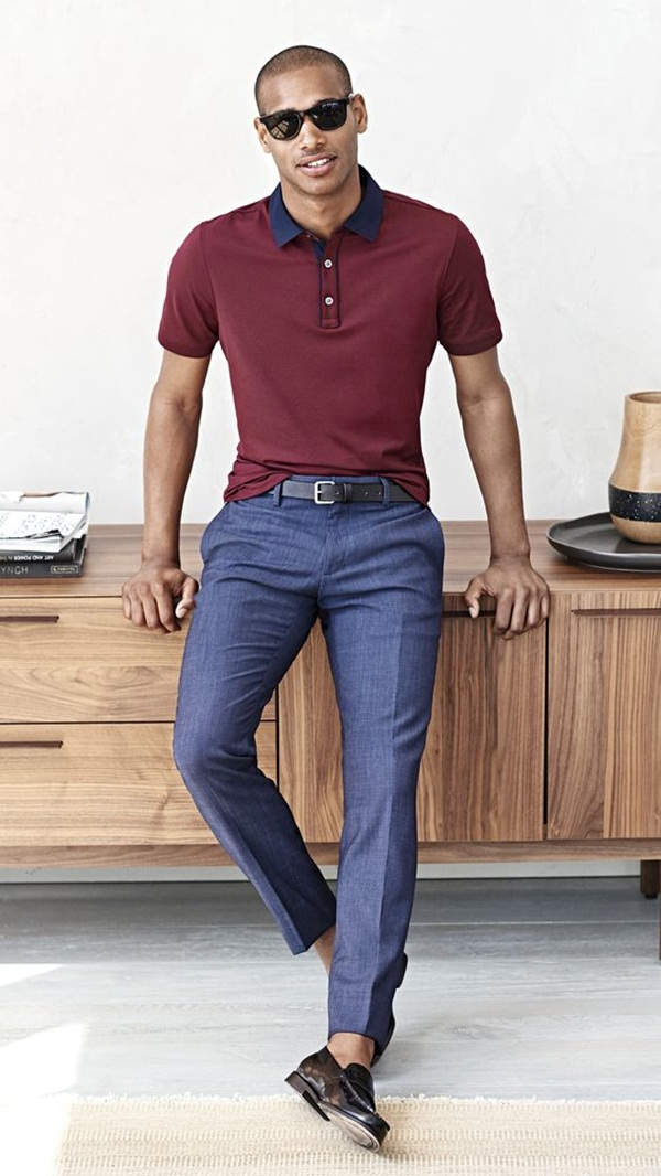 Types of men's casual pants Versatile men's casual pants such as chinos or cargo pants are wardrobe staples appropriate for a variety of work and social settings. These items usually come in cotton, polyester, elastane, spandex, and various combinations of these materials.