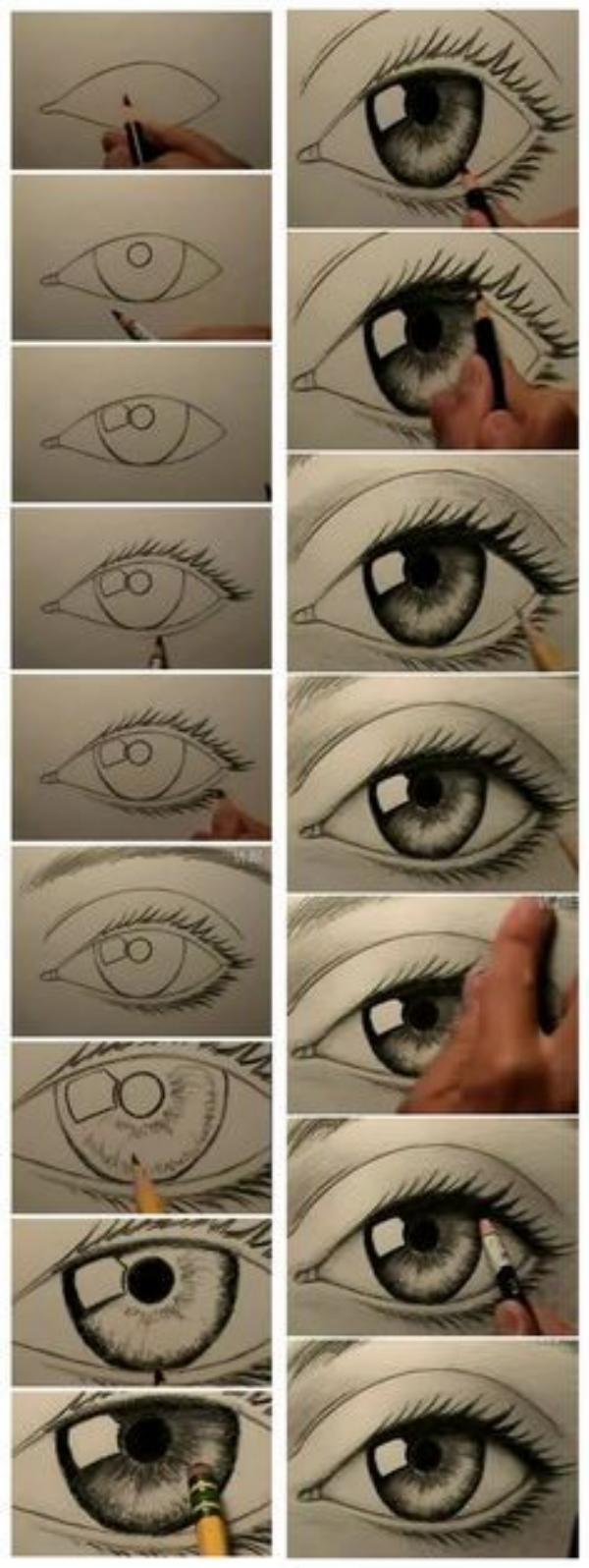 Рисуем красивый глаз поэтапно