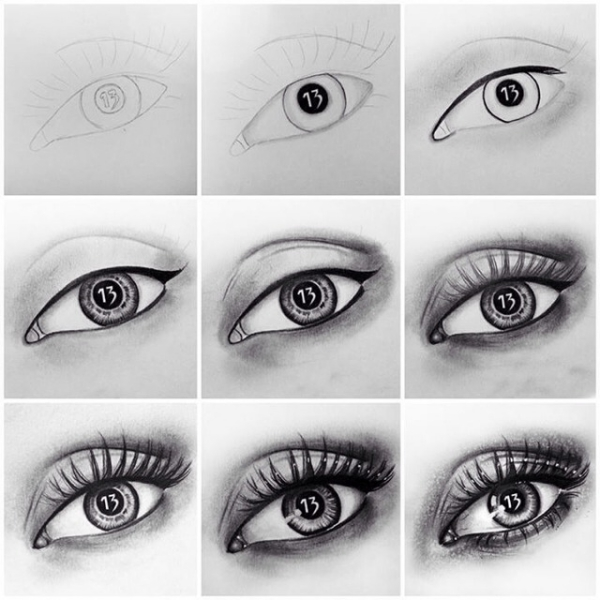 how to draw eyes step by step pdf