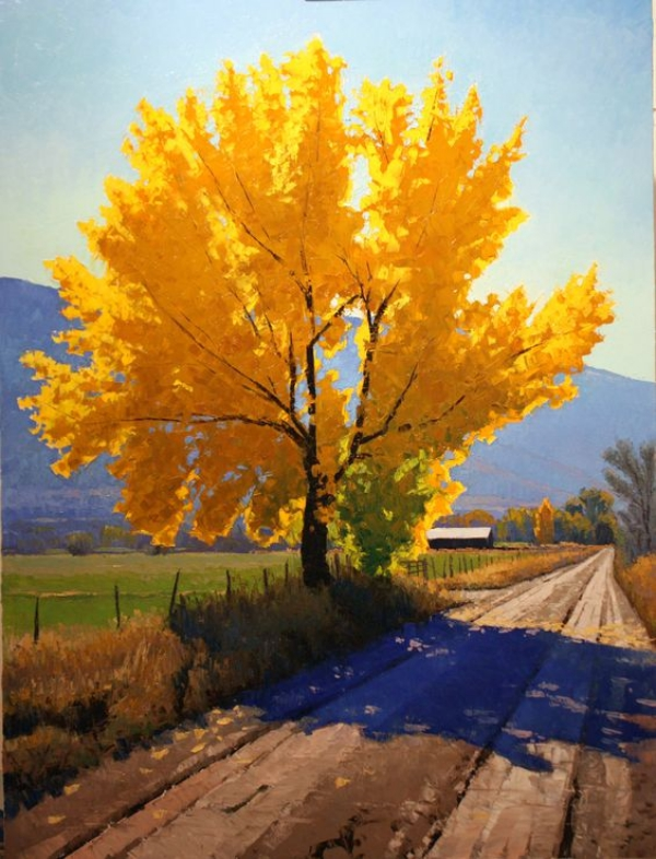40 simple and easy landscape painting ideas for Fall paintings easy