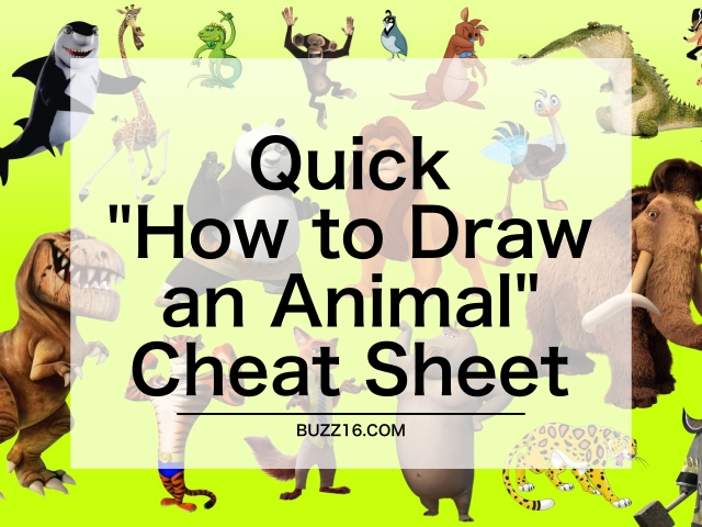 "25 Quick ""How to Draw an Animal"" Cheat Sheet"
