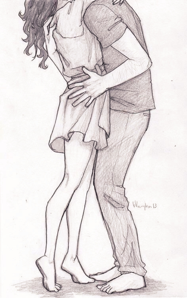 Romantic couple pencil sketches and drawings