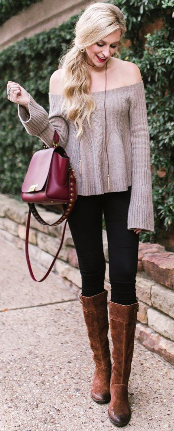 Sexy-Off-Shoulder-Winter-OutfitsSexy-Off-Shoulder-Winter-Outfits