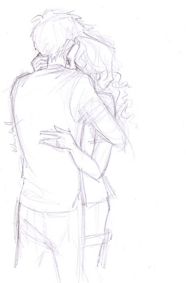 Romantic Couple Hugging Drawings and Sketches