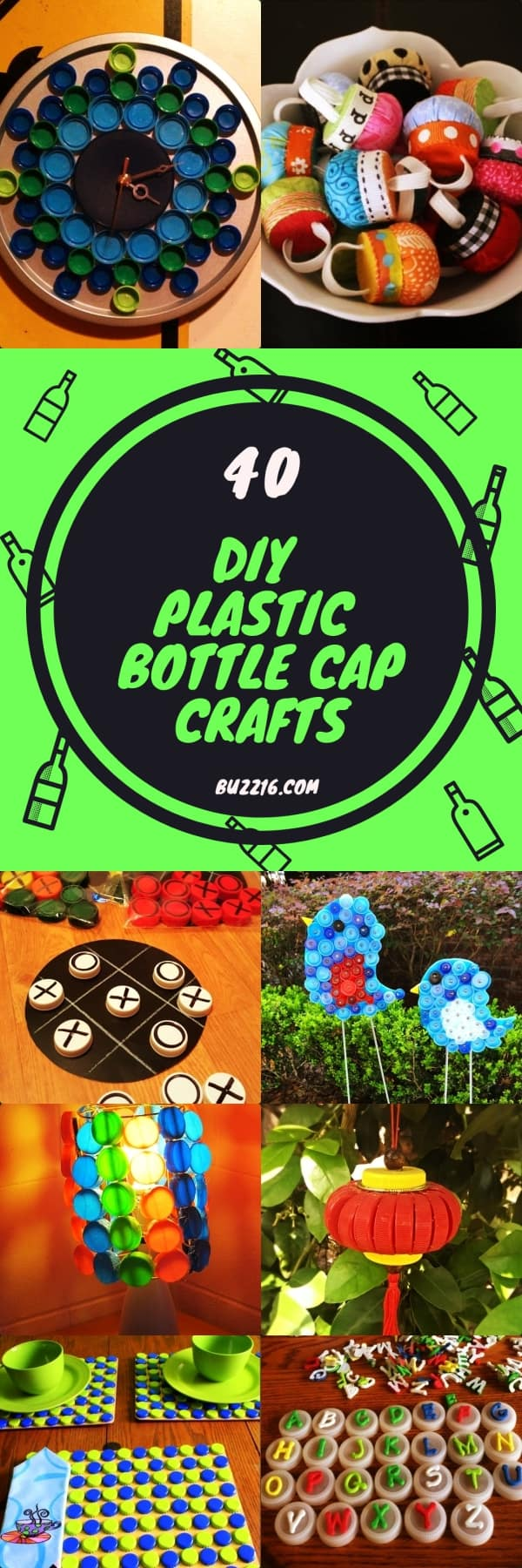 40 DIY Plastic Bottle Cap Craft Ideas